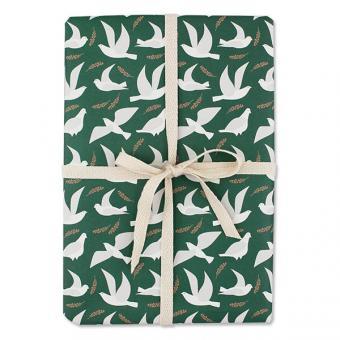 Geschenkpapier Tauben weiß/grün