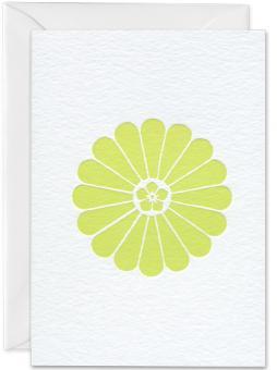 Grußkarte Chrysantheme limone