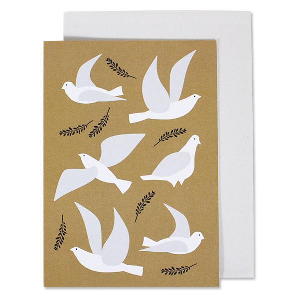 Grußkarte weiße Tauben auf Gold