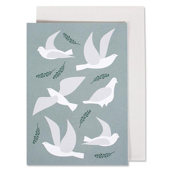 Grußkarte weiße Tauben auf Blau